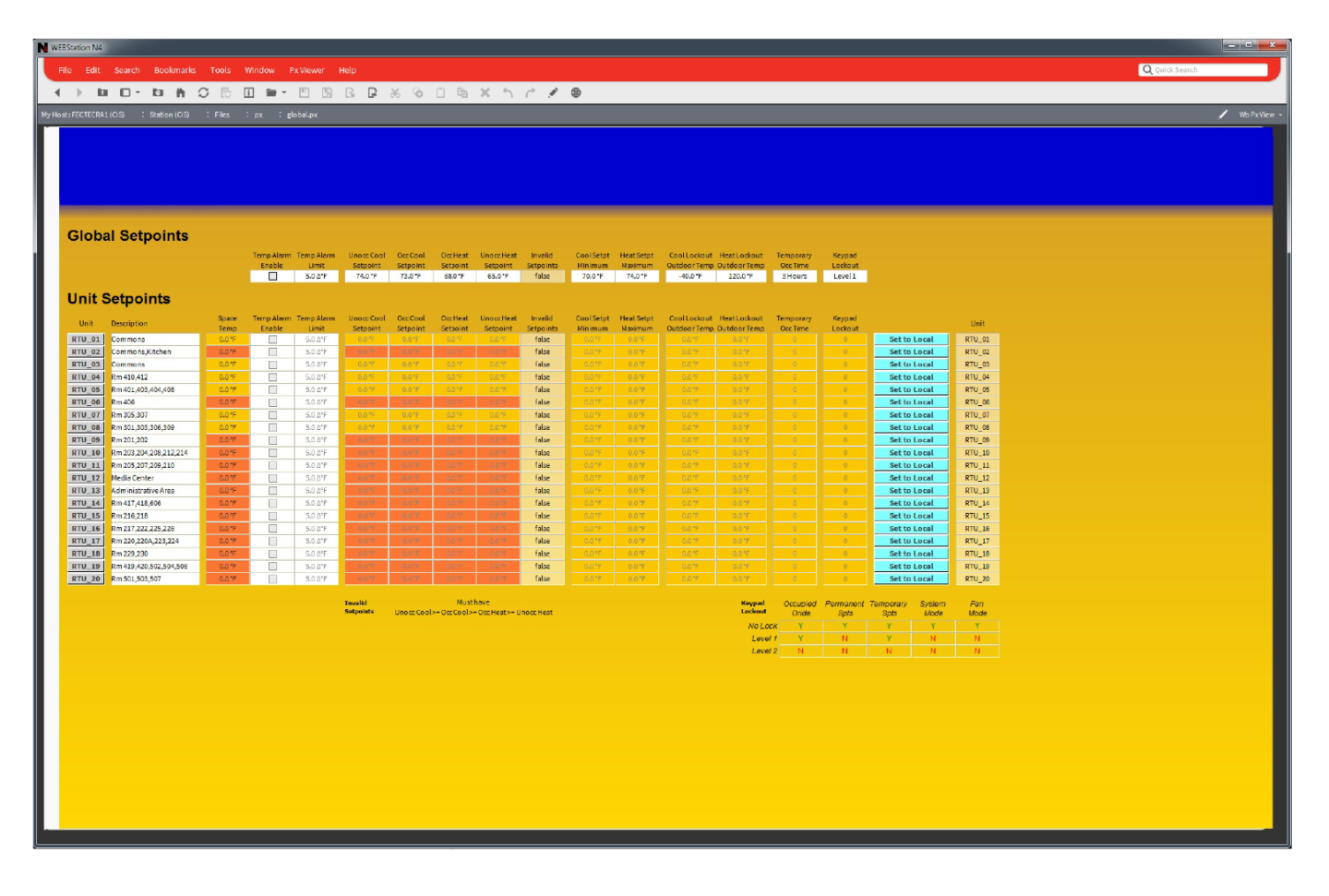 Building Automation System Screen- Room List
