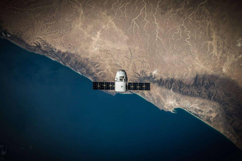 solar panels on satellite