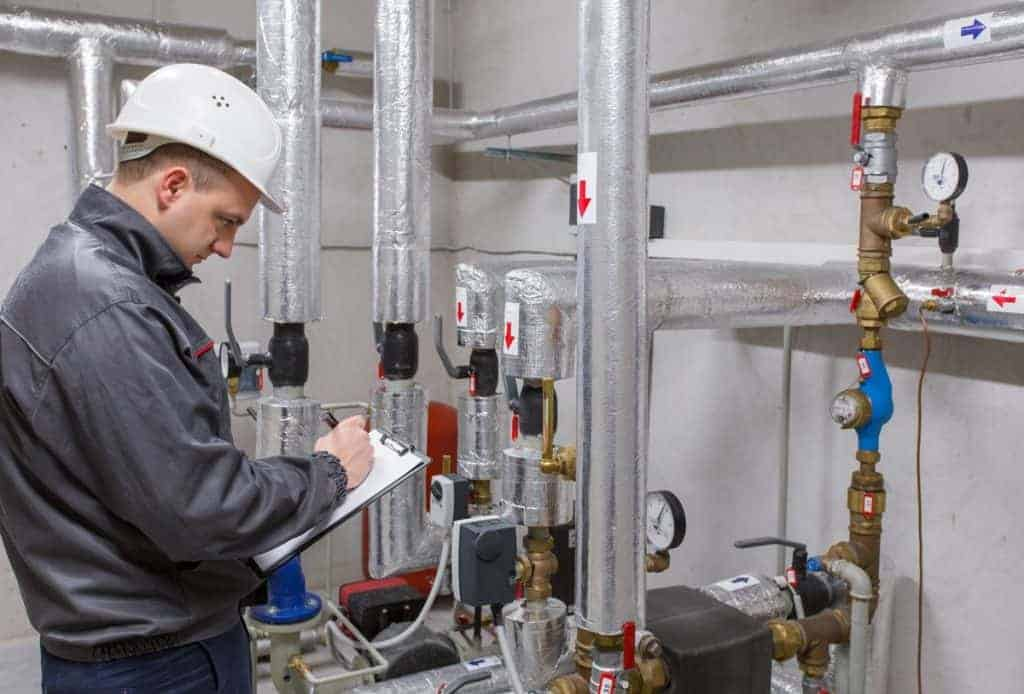 technician conducting a commercial energy audit