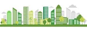 EnergyLink_Green Eco city living concept. Vector illustration. Green city, wind turbine vector illustration