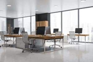 Gray panoramic office interior, wooden bookcases