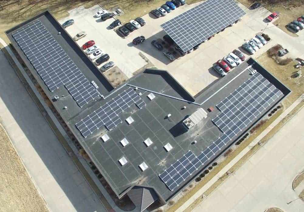 Faber & Brand Rooftop Solar and Solar Carport Drone Shot