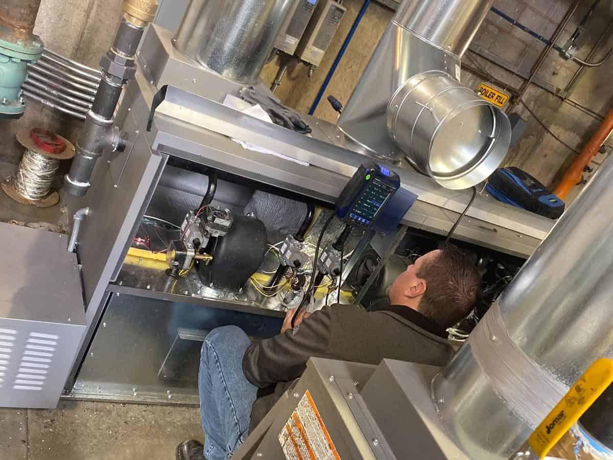 Commercial boiler system installation