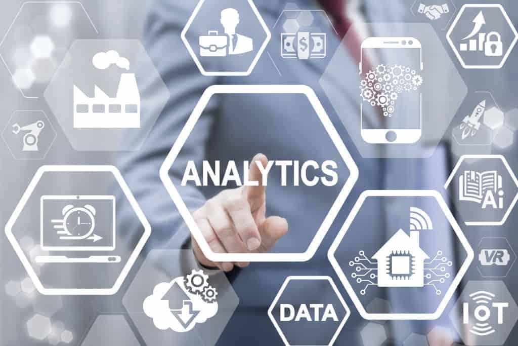 Analytics big data industry 4.0 medicine business house IT integration concept. Analysis information technology