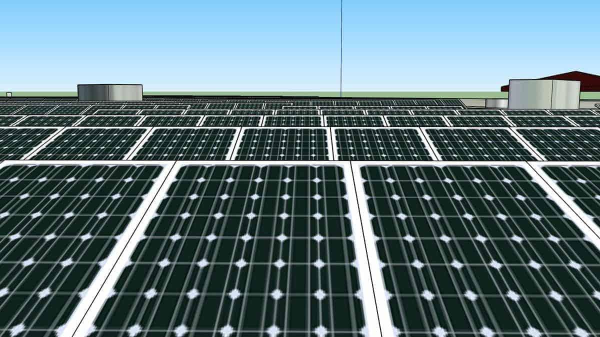 Columbia Independent Schools Rooftop Solar Rendering