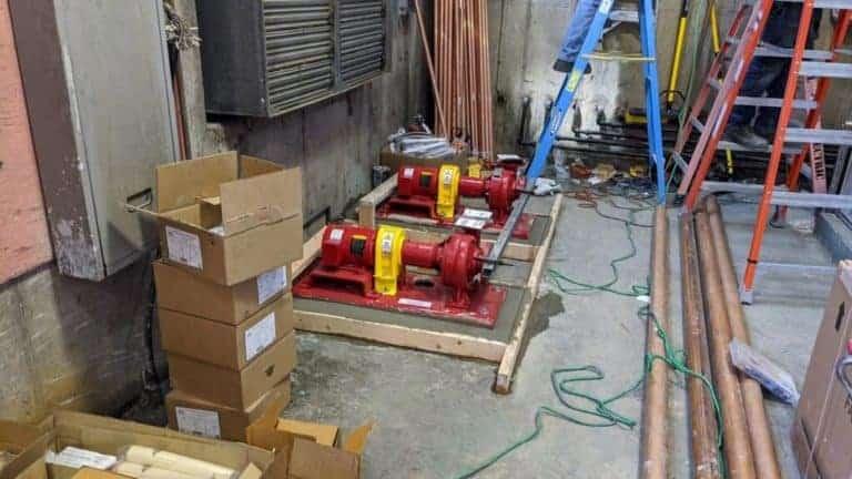 Pumps used to run fluid through the geothermal loop