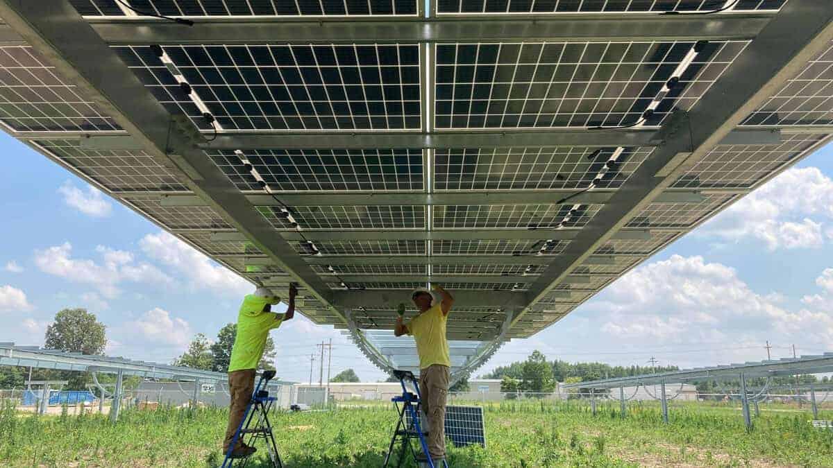 Utility Scale Bifacial Solar Panel Install