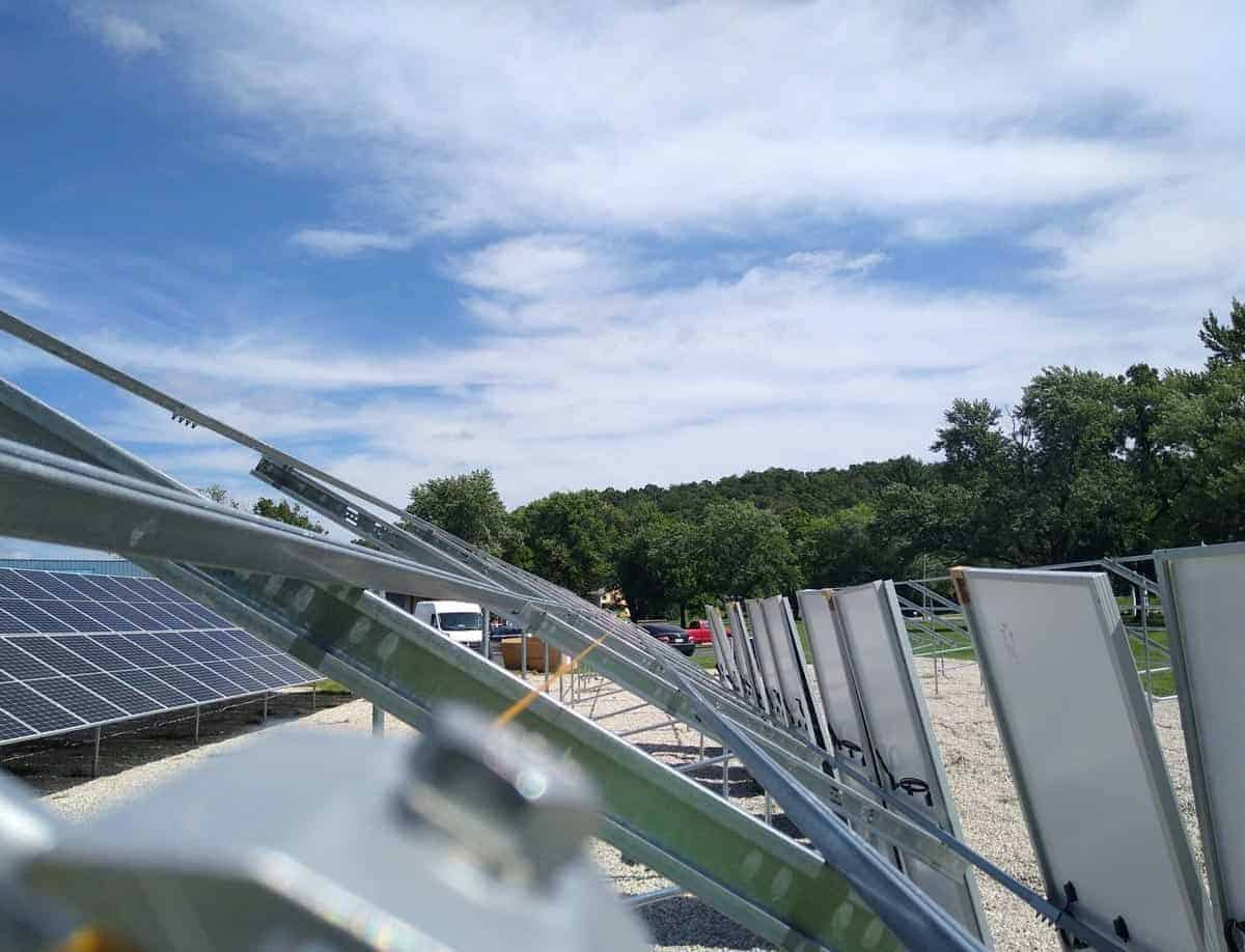 Steelville Telephone Exchange Solar Racking Pic Close Up