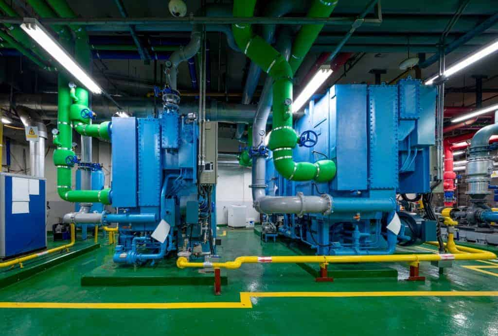 Absorption Chiller Heater in the basement