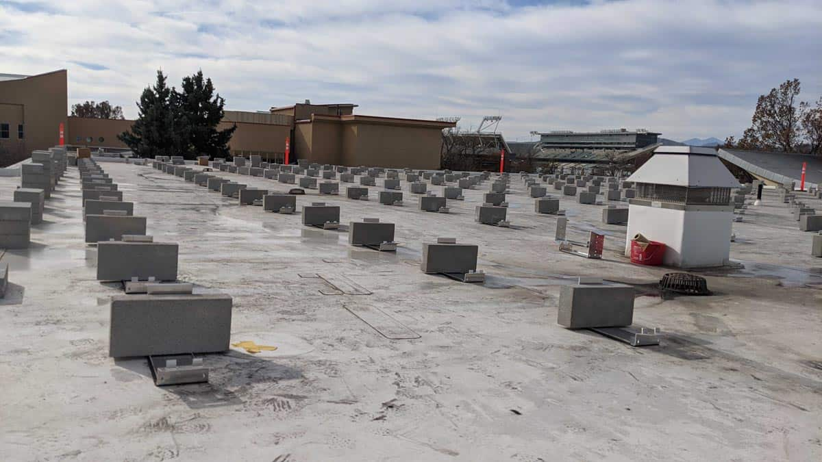 Colorado State University Lory Student Center Solar Install Pic - Solar Racking Laid Out