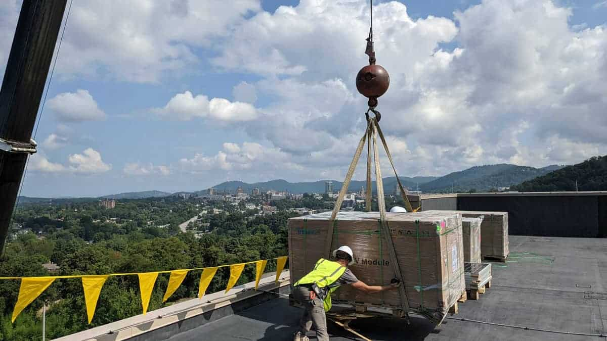 EnergyLink crew securing procured materials at the Buncombe County Allied Health job site